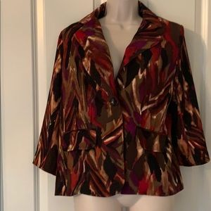KM ROGERS BROWN RED PURPLE 2 BUTTON LINED BLAZER